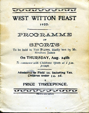 The 1922 Witton Feast Programme